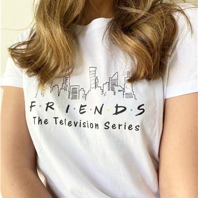 סט פיג'מה מכנסיים עד אחרי הברך Friends TV Love - לבן
