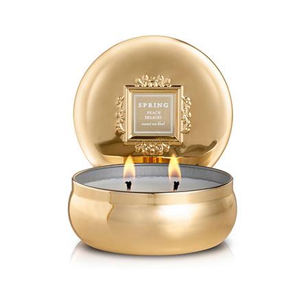 נר בישום תערובת שעוות קוקוס WHITE FLOWER - בפחית זהב ב - 3 ניחוחות לבחירה